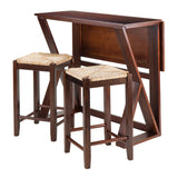 "Winsome Harrington 3-Pc Drop Leaf High Table, 2-24"" Rush Seat Stools"