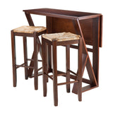 "Winsome Harrington 3-Pc Drop Leaf High Table, 2-29"" Rush Seat Stools"