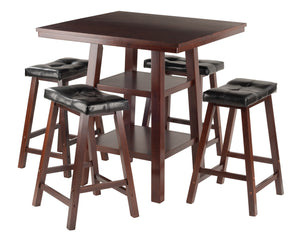 Winsome Orlando 3-Pc Set High Table, 2 Shelves w/ 4 Cushion Seat Stools