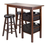 "Winsome Egan 5pc Table with 2 - 24"" Round Cushion Stools and 2 Baskets"