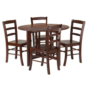 Winsome Alamo 5-Pc Round Drop Leaf Table with 4 Ladder Back