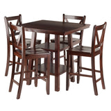 Winsome Orlando 5-Pc Set High Table, 2 Shelves w/ 4 V-Back Counter Stools