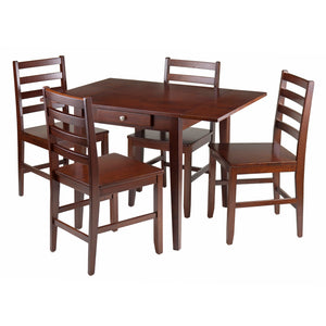 Winsome Hamilton 5-Pc Drop Leaf Dining Table with 4 Ladder Back Chairs