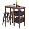 "Winsome Egan 5pc Table with 2 - 24"" Square Legs Stools and 2 Baskets"