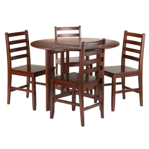 Winsome Alamo 5-Pc Round Drop Leaf Table with 4 Hamilton Ladder Back