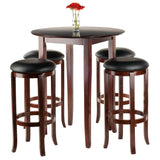 Winsome Fiona Round 5pc High/Pub Table Set with PVC Stools