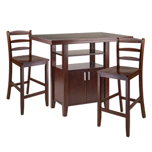 Winsome Albany 3-pc  Set High Table w/Ladder Back Counter Stools