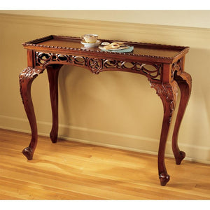 TOSCANO MAHOGANY FILIGREE CONSOLE TABLE