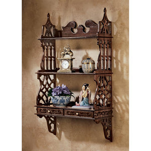 TOSCANO CHINESE CHIPPENDALE HARDWOOD CURIO