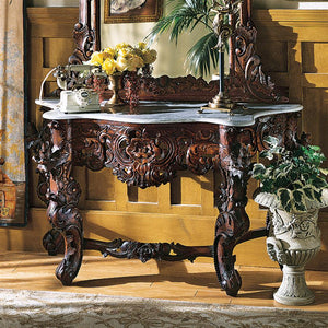TOSCANO HAPSBURG CONSOLE TABLE WITH MARBLE TOP