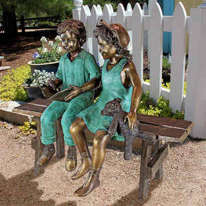 TOSCANO READ TO ME BOY AND GIRL BRONZE STATUE