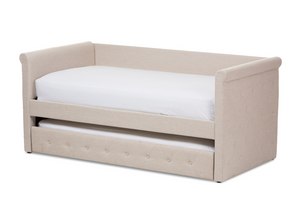 ALENA MODERN AND CONTEMPORARY LIGHT BEIGE FABRIC DAYBED WITH TRUNDLE