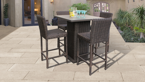 Venice Pub Table Set With Barstools 5 Piece Outdoor Wicker Patio Furniture