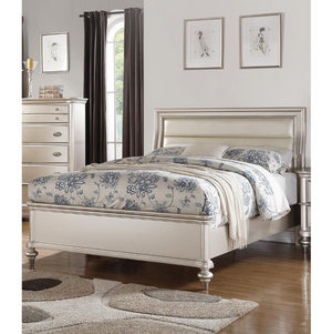 Wooden E.King Bed With Silver
