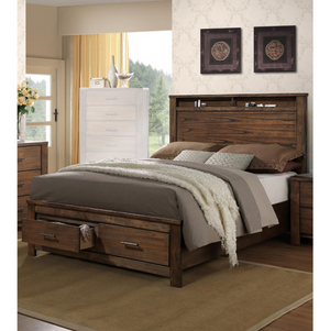 Wooden E.King Bed With Display And Storage Drawers, Oak Finish