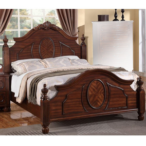 Wooden E.King Bed With Circular Floral Design, Cherry Finish