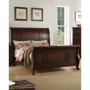 Wooden C.King Bed, Antique Cherry Finish