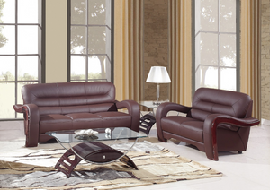 Modern Brown Leather Sofa And Loveseat - 55.9'' X 35.8'' X 34.3''