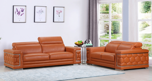 "Modern Camel Leather Sofa And Loveseat - 71"" X 41"" X 29"""