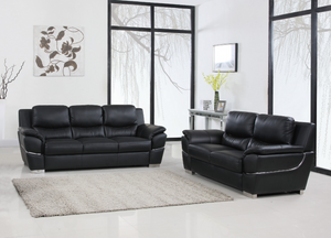 Modern Black Leather Sofa And Loveseat - 85'' X 34'' X 35''