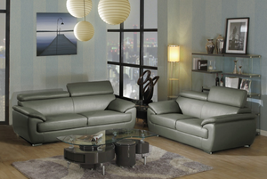 Modern Gray Leather Sofa And Loveseat - 69'' X 38'' X 32-39''