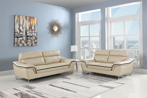 Modern Beige Leather Sofa And Loveseat - 69'' X 36'' X 40''