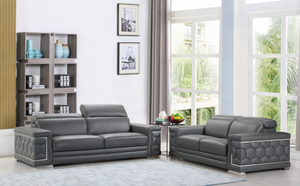 "Modern Dark Gray Leather Sofa And Loveseat - 71"" X 41"" X 29"""