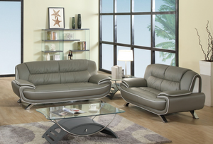 Modern Gray Leather Sofa And Loveseat - 67'' X 35'' X 35''