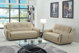 Modern Beige Leather Sofa And Loveseat - 61'' X 39'' X 36''