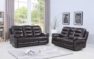 "Modern Brown Leather Sofa And Loveseat - 90"" X 40"" X 44"""