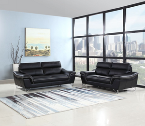 69'' X 36'' X 40'' Modern Black Leather Sofa And Loveseat