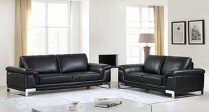Modern Black Leather Sofa And Loveseat - 73'' X 39'' X 32''