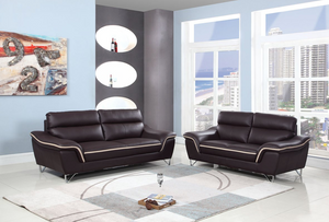 Modern Brown Leather Sofa And Loveseat - 69'' X 36' X 40''