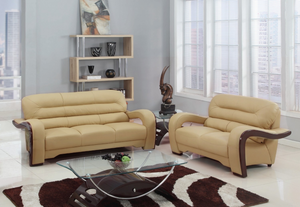 Modern Beige Leather Sofa And Loveseat - 55.9'' X 35.8'' X 34.3''