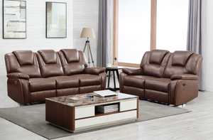 Modern Brown Leather Sofa And Loveseat - 62'' X 38'' X 40''