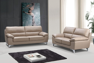 Modern Beige Leather Sofa And Loveseat - 64'' X 36'' X 37''