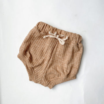 Wide Ribbed shorts - Latte Marle