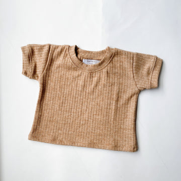 Wide Ribbed Tee - Latte Marle