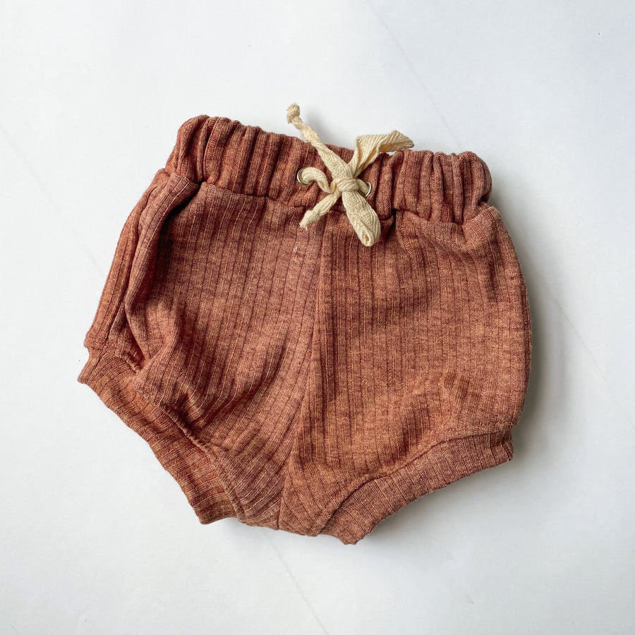 Wide Ribbed shorts - Rust Wash Marle