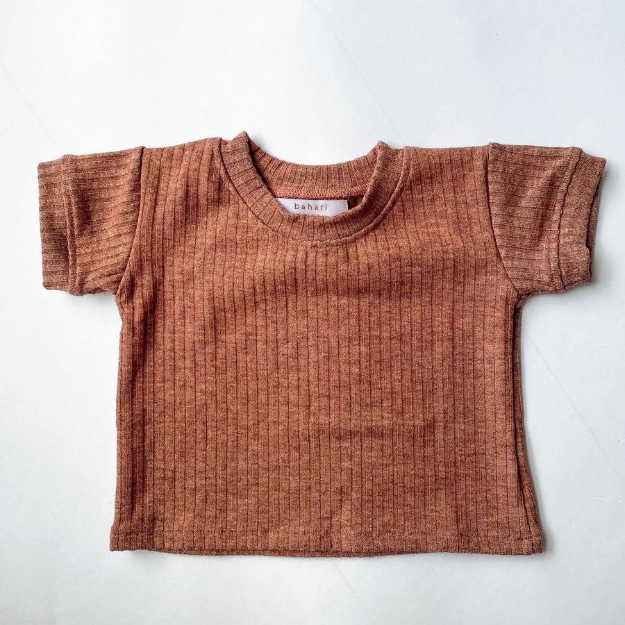Wide Ribbed Tee - Rust Wash Marle