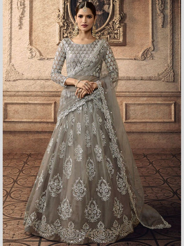 Lehenga - Net Embroidery on Satin
