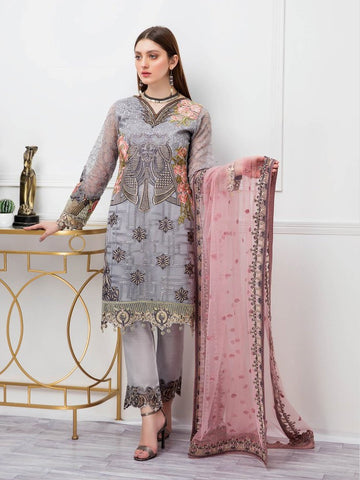 Pakistani Salwar Kameez - Embroidered Organza Pakistani Dress