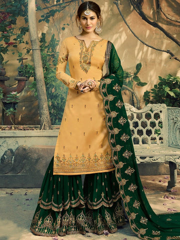 Pakistani Salwar Kameez - Santoon & Georgette Embroidery