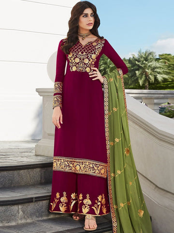 Pakistani Salwar Kameez - Embroidery on Georgette