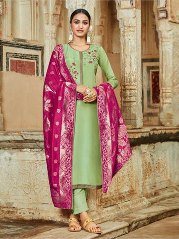 Indian Dress - Silk Jacquard Embroidery