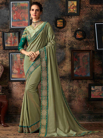 Art Silk Embroidery Indian Saree