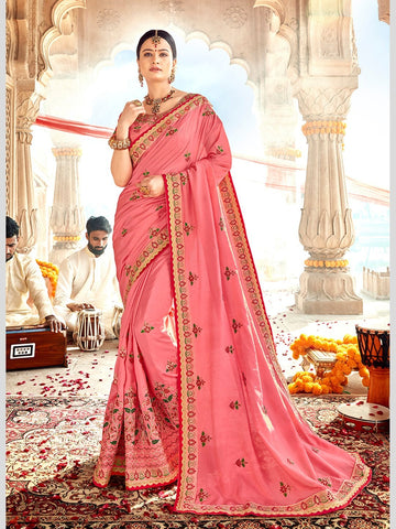 Georgette Embroidery Indian Sari