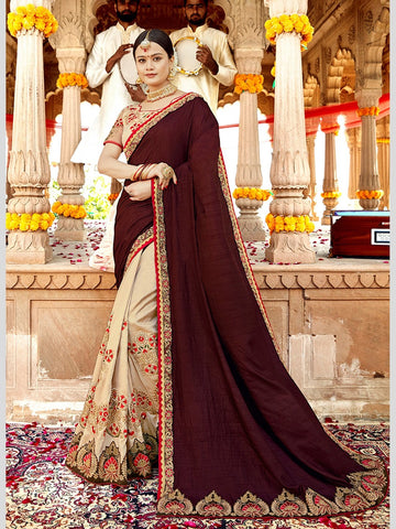 Georgette Embroidery Indian Saree