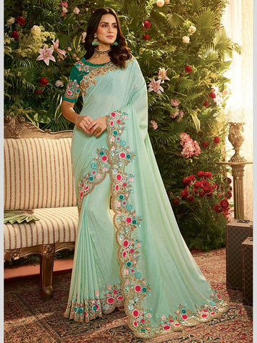 Satin Georgette Embroidery Indian Saree