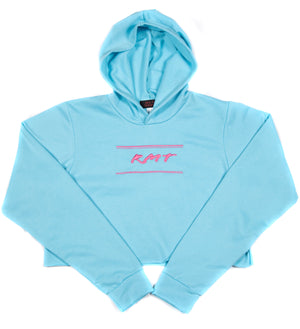 RMT Women's Crop Top Hoodie - Blue/Pink